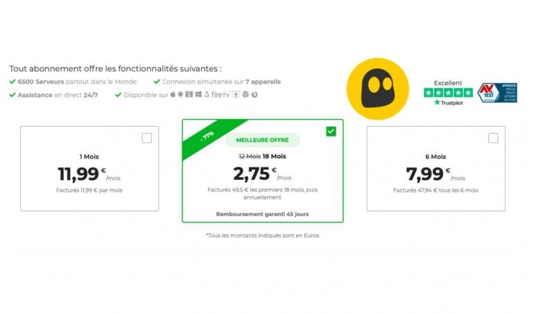 Cyberghost : 18 mois de VPN pour moins de 50 euros