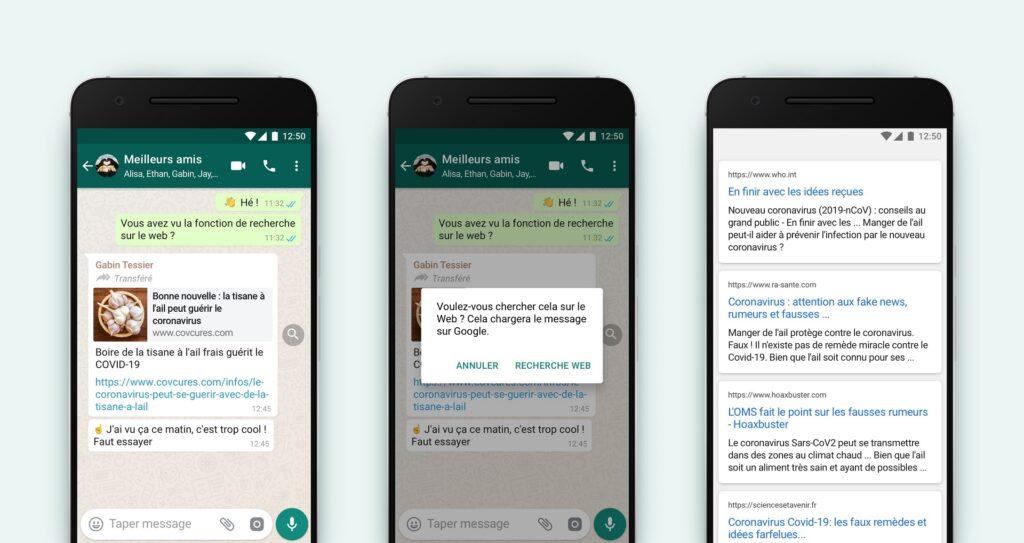 Face à la désinformation, WhatsApp va vous laisser faire… vos propres recherches