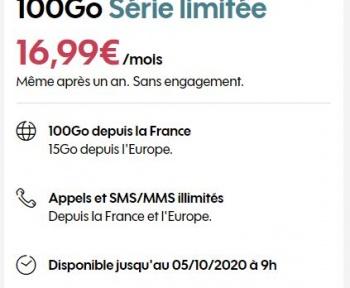 Forfait mobile Sosh : retour de l'offre 100Go à 16,99€/mois même après un an