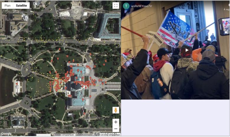 Cette carte interactive montre les utilisateurs de Parler envahissant le Capitole