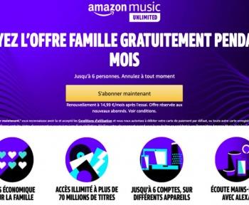 6 comptes gratuits pendant 3 mois avec l'offre famille d'Amazon Music Unlimited